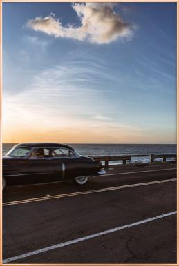Cadillac Sunset Cruise II -Poster im Alurahmen