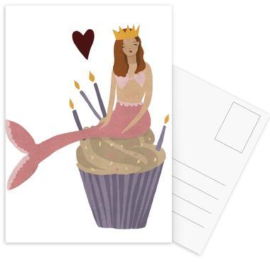 Birthday Mermaid -Postkartenset