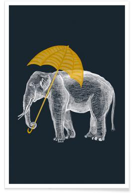 Elephant with Umbrella 2 poster