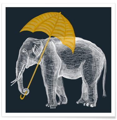 Elephant with Umbrella Poster