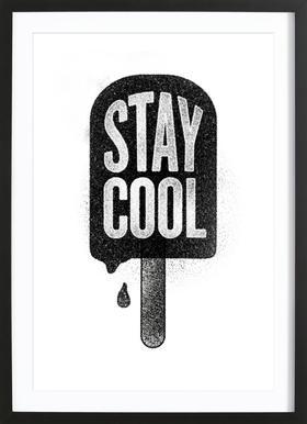 Stay Cool affiche sous cadre en bois