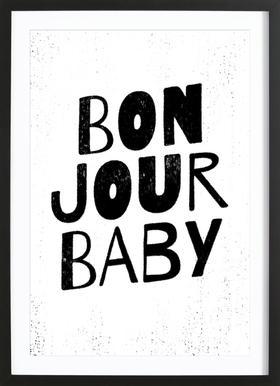 Bonjour Baby affiche sous cadre en bois