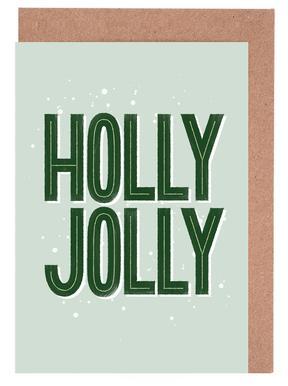 Holly Jolly Gratulationskort i satt