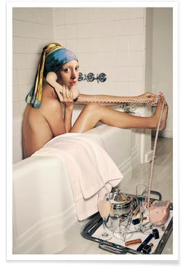 Girl with Pearl Earring Bath time Poster