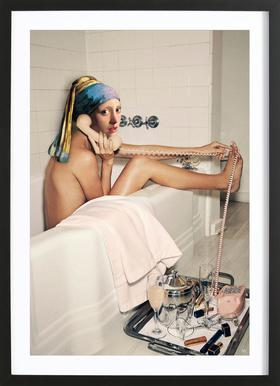 Girl with Pearl Earring Bath time -Bild mit Holzrahmen