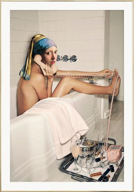 Girl with Pearl Earring Bath time - Affiche sous cadre en aluminium
