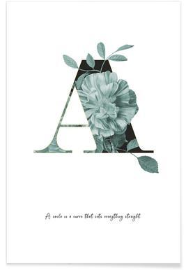 Flower Alphabet - A -Poster