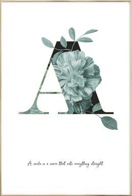 Flower Alphabet - A -Poster im Alurahmen