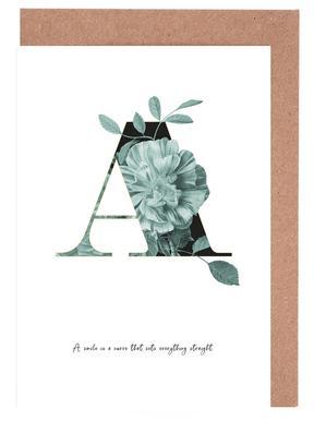 Flower Alphabet - A -Grußkarten-Set