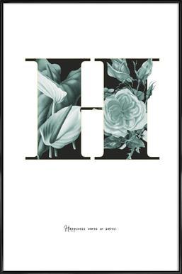 Flower Alphabet - H Framed Poster