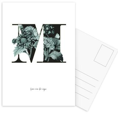 Flower Alphabet - M -Postkartenset