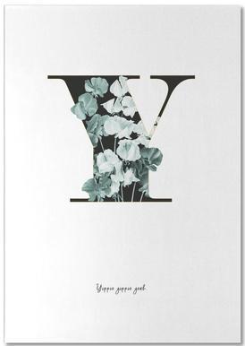 Flower Alphabet - Y -Notizblock