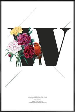 Botanical Alphabet - W Framed Poster