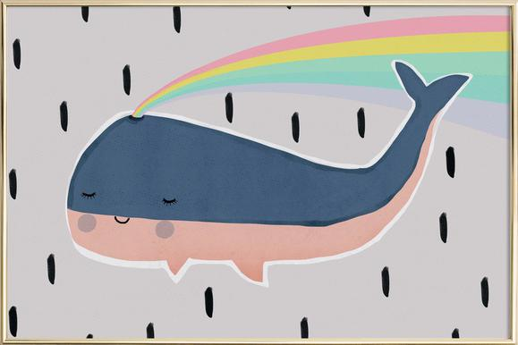 Happy Whale Poster in Aluminium Frame