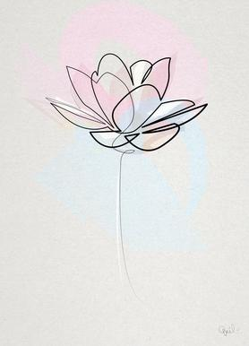 One Line Lotus Canvas Print
