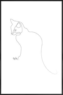 One Line Cat - Poster in Standard Frame