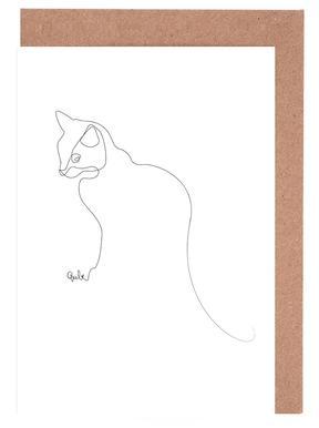One Line Cat cartes de vœux