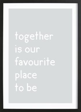 Together -Bild mit Holzrahmen