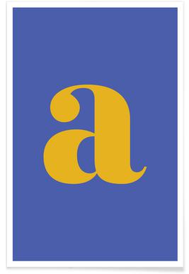 Blue Letter A -Poster