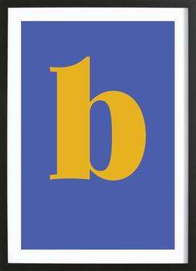 Blue Letter B -Bild mit Holzrahmen