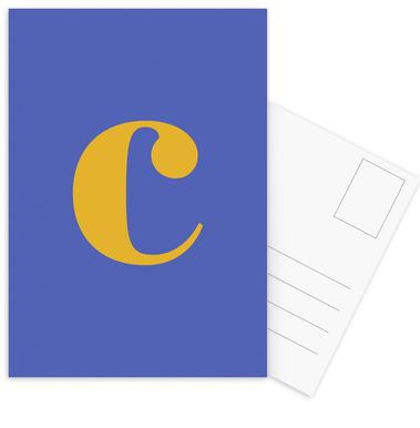 Blue Letter C -Postkartenset