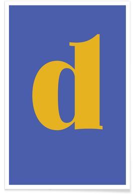 Blue Letter D -Poster