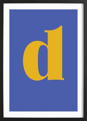 Blue Letter D -Bild mit Holzrahmen