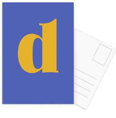 Blue Letter D -Postkartenset