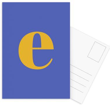 Blue Letter E -Postkartenset