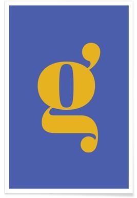 Blue Letter G Poster