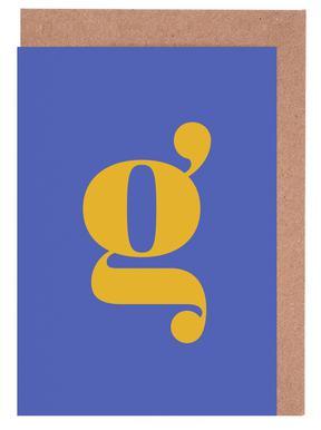 Blue Letter G Greeting Card Set