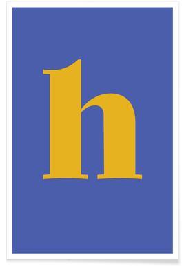 Blue Letter H -Poster