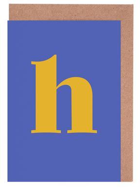 Blue Letter H -Grußkarten-Set
