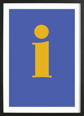 Blue Letter I affiche sous cadre en bois