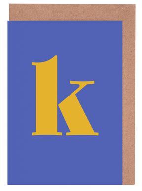 Blue Letter K -Grußkarten-Set
