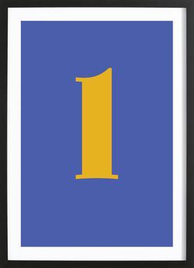 Blue Letter L affiche sous cadre en bois