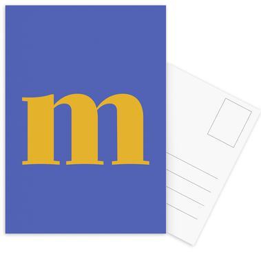 Blue Letter M Postcard Set