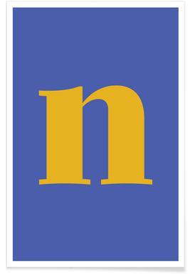 Blue Letter N -Poster