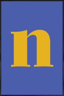 Blue Letter N Poster i standardram