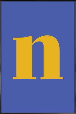 Blue Letter N affiche encadrée