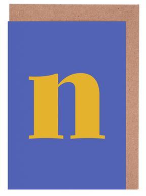 Blue Letter N -Grußkarten-Set
