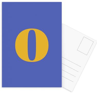 Blue Letter O -Postkartenset