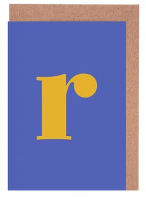 Blue Letter R -Grußkarten-Set