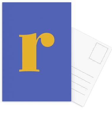Blue Letter R Postcard Set
