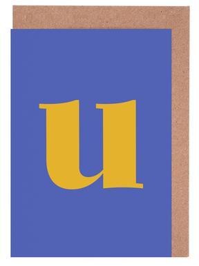 Blue Letter U -Grußkarten-Set