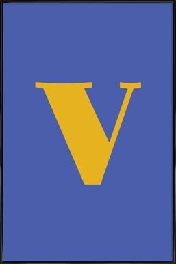 Blue Letter V affiche encadrée