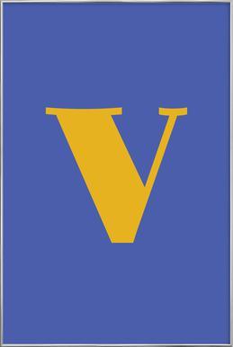 Blue Letter V -Poster im Alurahmen
