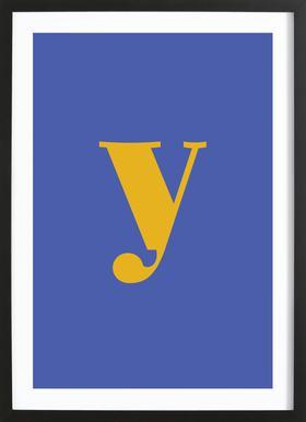 Blue Letter Y -Bild mit Holzrahmen