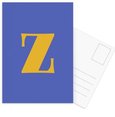 Blue Letter Z -Postkartenset