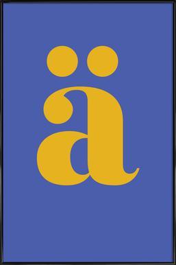 Blue Letter ä -Bild mit Kunststoffrahmen